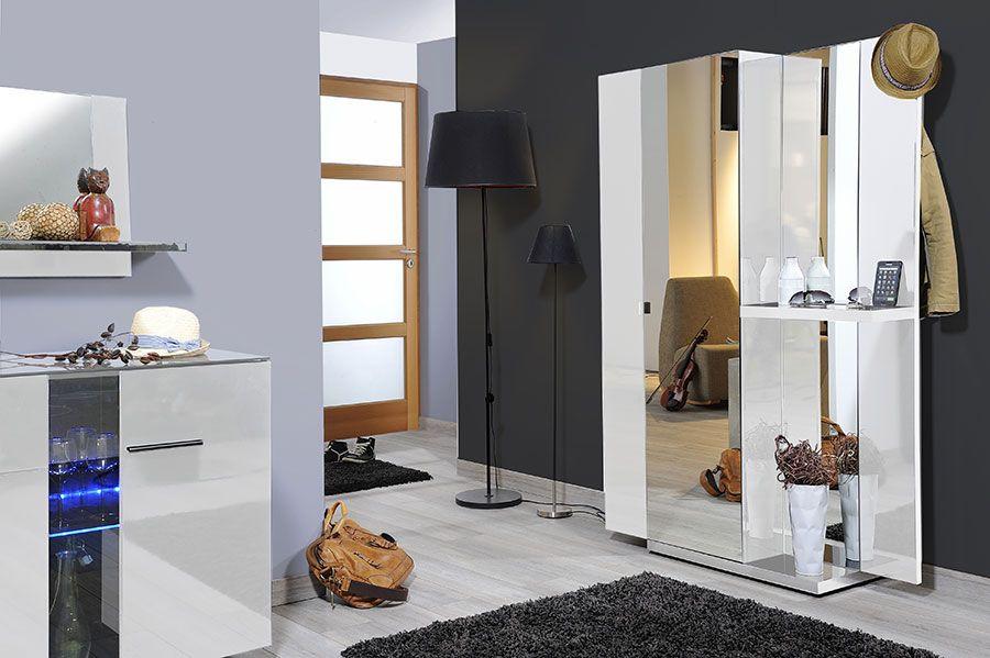 Vestiaire d\'entrée design laqué blanc + chromé MANON, 2 portes + ...