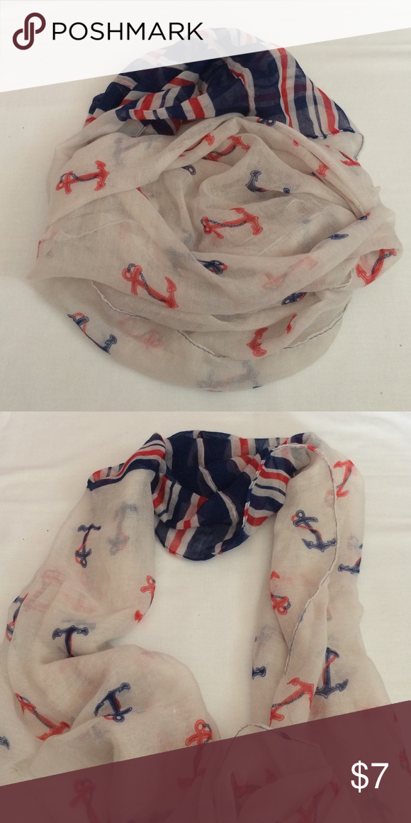 Nautical Cloth Infinity Scarf Cloth infinity scarf with red and navy anchors and one section of stripes close to the stitching *NWOT* Accessories Scarves & Wraps