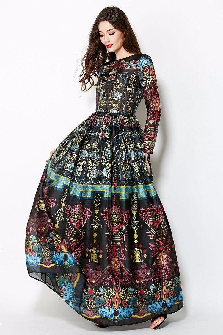 Vintage long elegant gown bohemian floorlength dress women