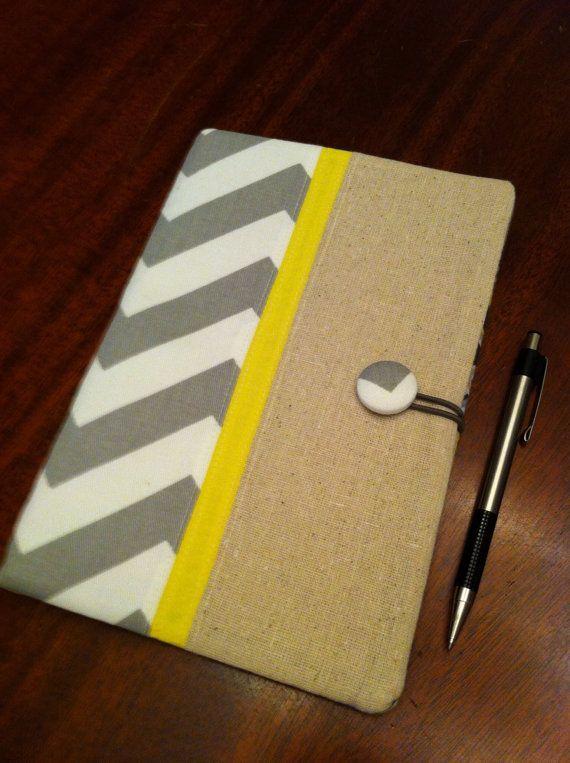 Grey and yellow chevron fabric portfolio, legal pad organizer ...