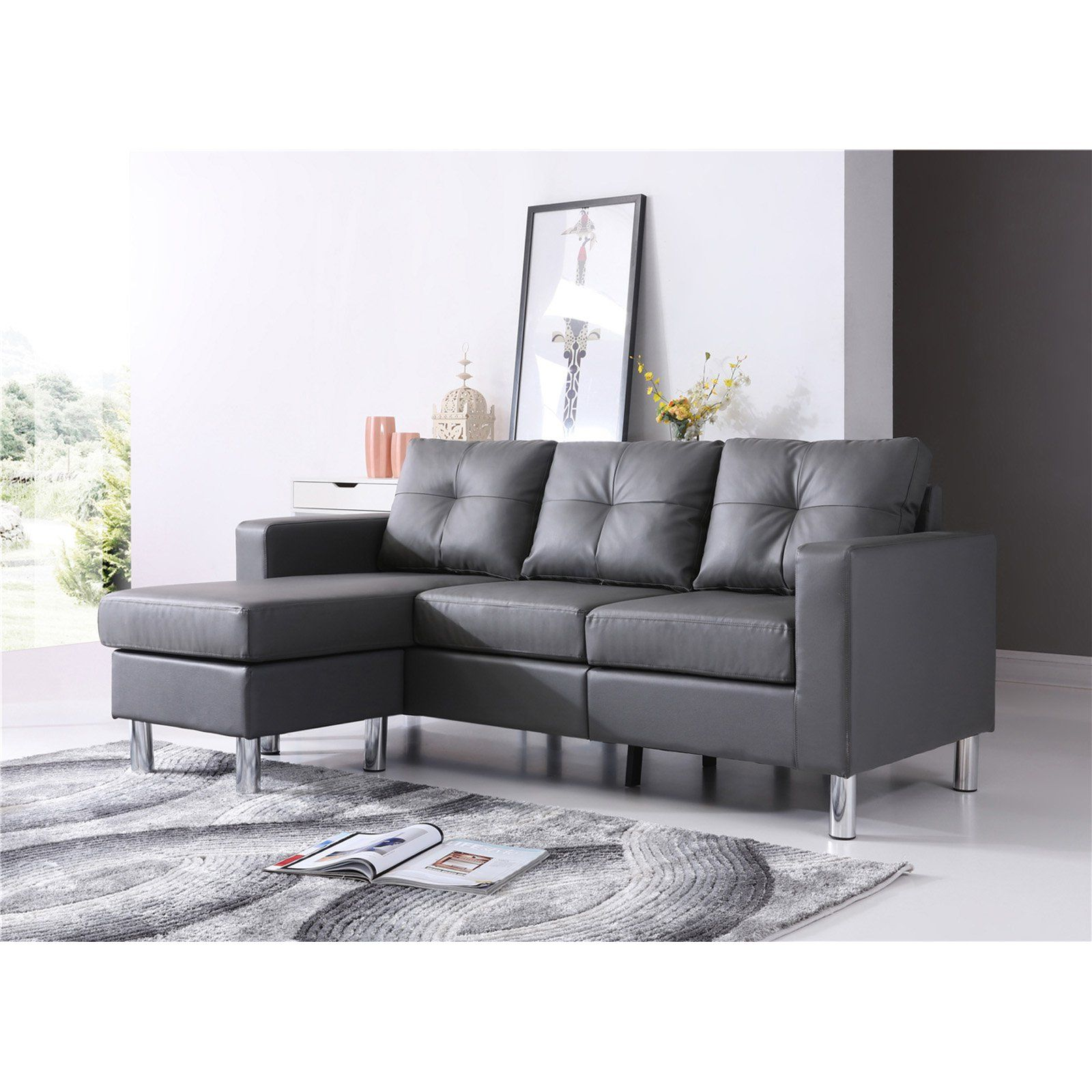 NH Designs Small Space Convertible Sectional Sofa in 2019 ...