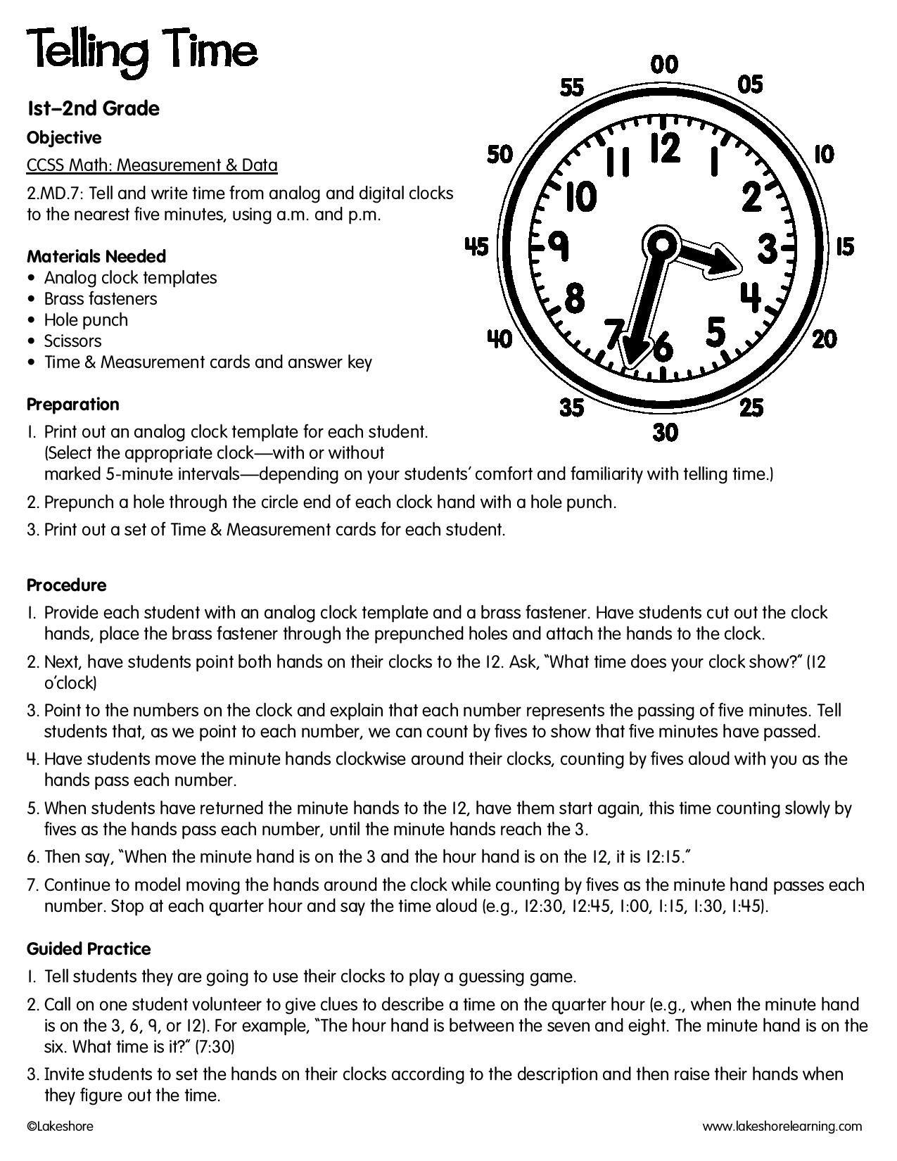 Telling Time #lessonplan   Lesson Plans   Lesson plans, Free