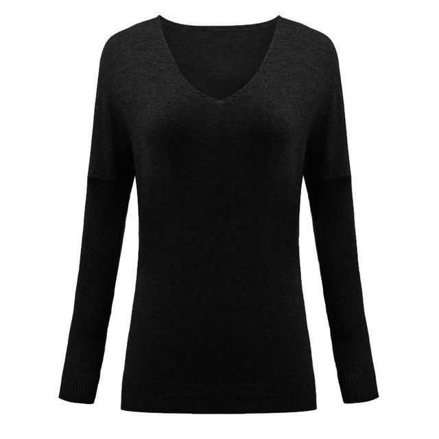2017 Autumn Winter Women Sweaters Pullovers Sexy V-Neck Batwing Long Sleeve Slim Jumper Knitted Tops Plus Size Pull Femme