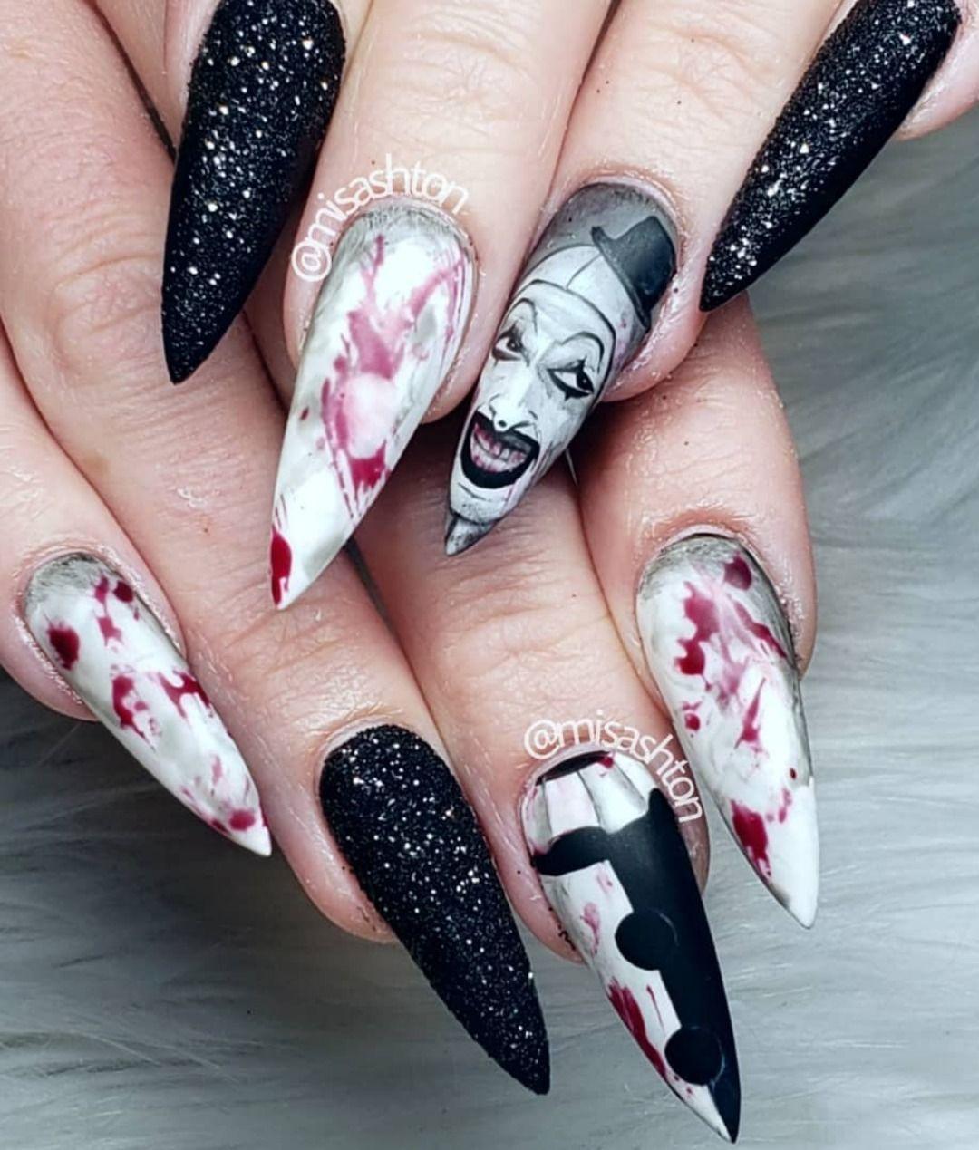 Spooky Halloween stiletto nails 2019 #halloween # ...