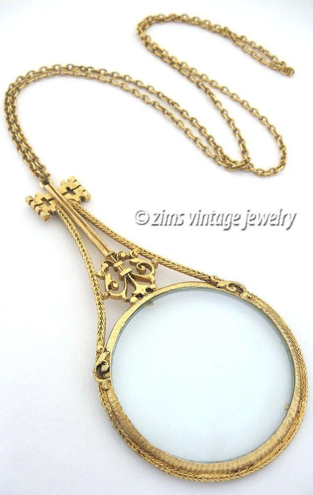 vintage old florenza large gold key magnifying glass magnifier pendant necklace
