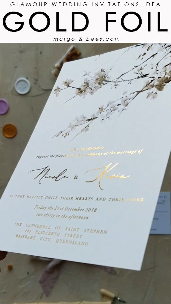 Gold foil wedding invitations #goldweddinginvitations #goldfoil #glamourweddinginvitations #glamourwedding