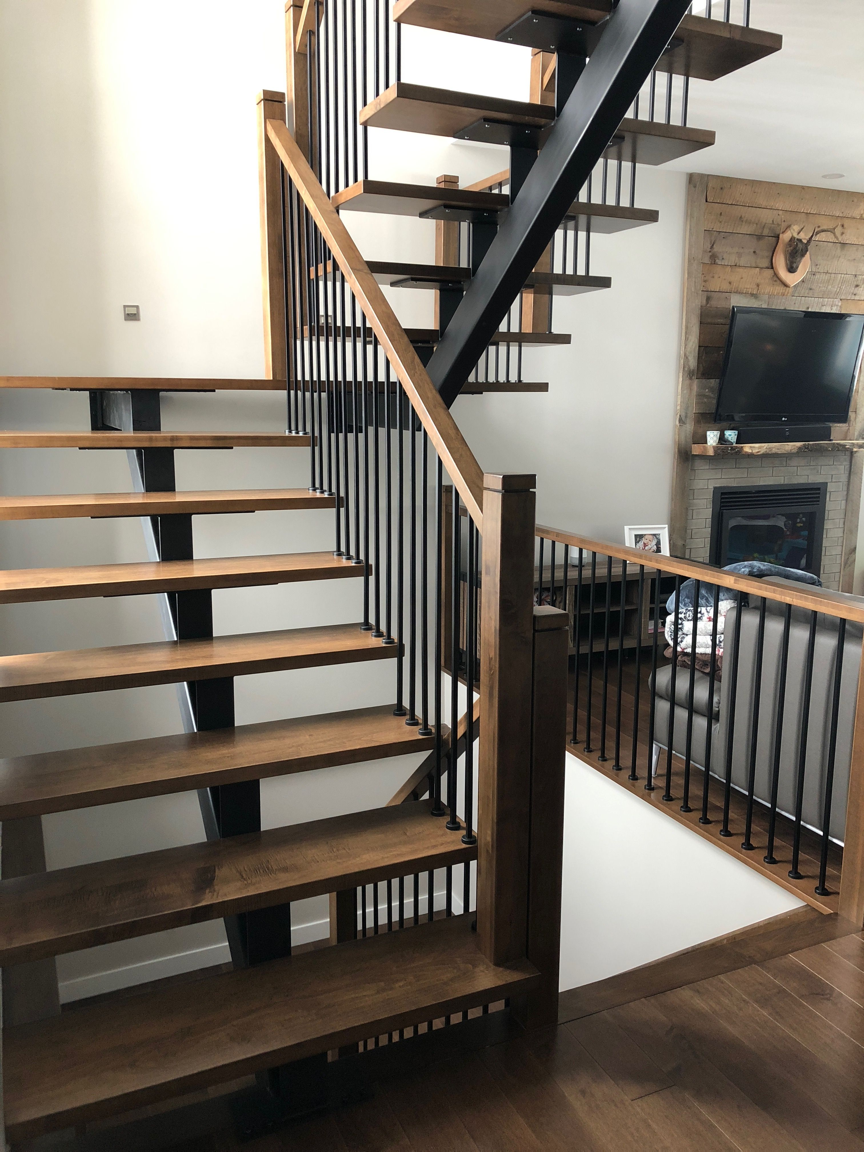 Best Custom Made Metal Central Beam Staircase With Maple Stair 640 x 480