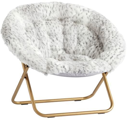 Hang Around Chair Pottery Barn Wheelchair Motor Teen A Round Gray Leopard Faux Fur W Gold Base