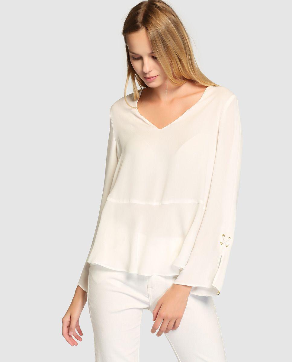 32ae9d0a835f Blusa blanca de mujer Elogy con manga larga · Elogy · Moda · El ...