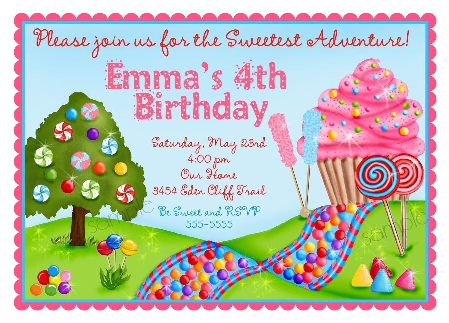 candyland birthday party invitations, cupcake, oh sweet candy land, Birthday invitations