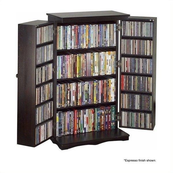 Leslie Dame 40 Cd Dvd Media Storage Cabinet 253 Liked On Polyvore Featuring Home Furniture Shelves Dark Wood Shelf