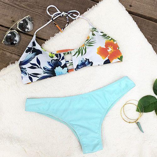 Cupshe Chic Lady Floral Halter Bikini Set | https://www.cupshe.com/products/cupshe-chic-lady-floral-halter-bikini-set