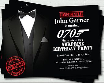 70th Birthday Invitation For Man Surprise James Bond Theme Party Casino Royale Printable DIY AB48