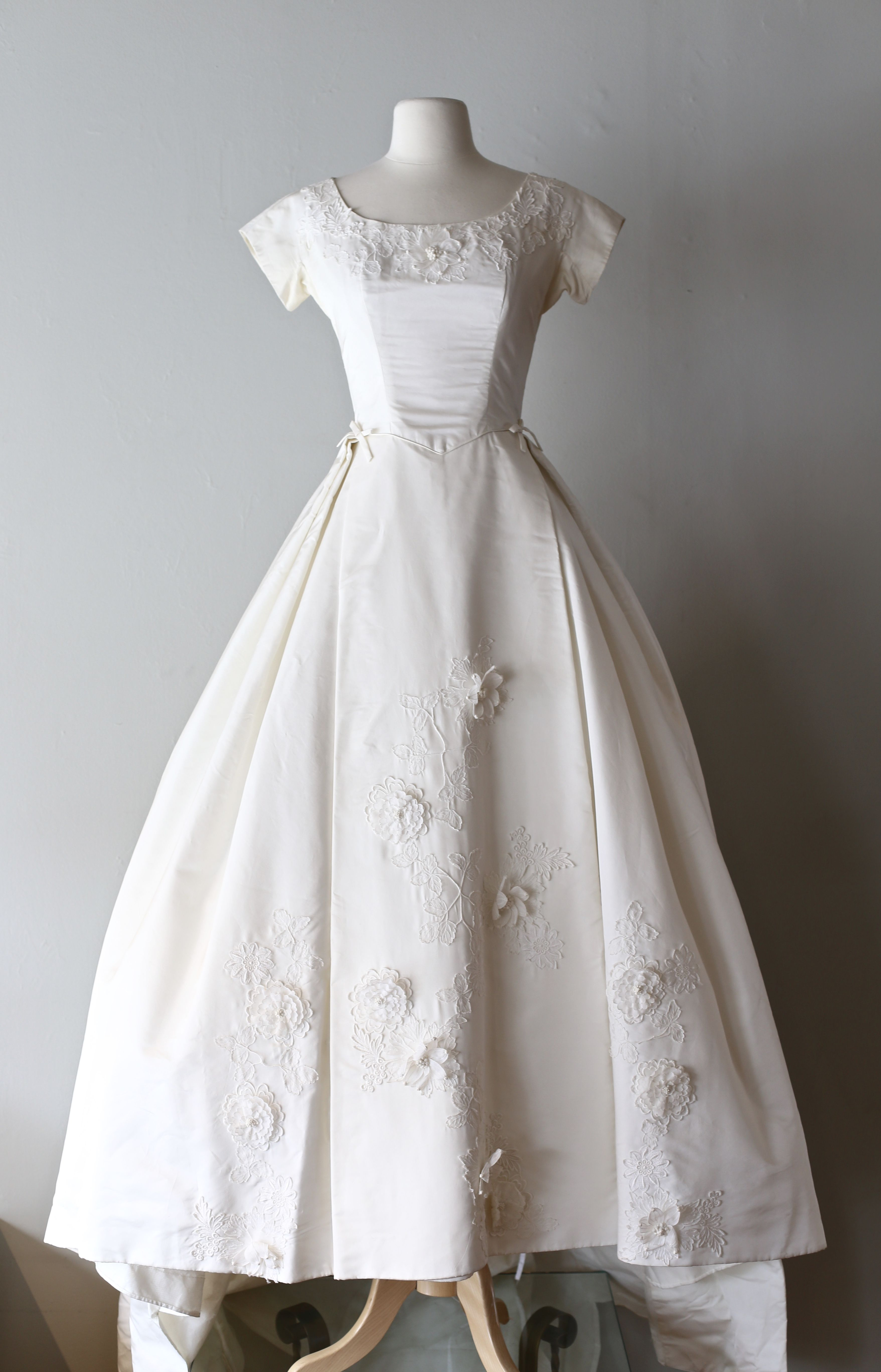 1960 wedding dresses  Early us silk wedding gown with floral appliqué Available at