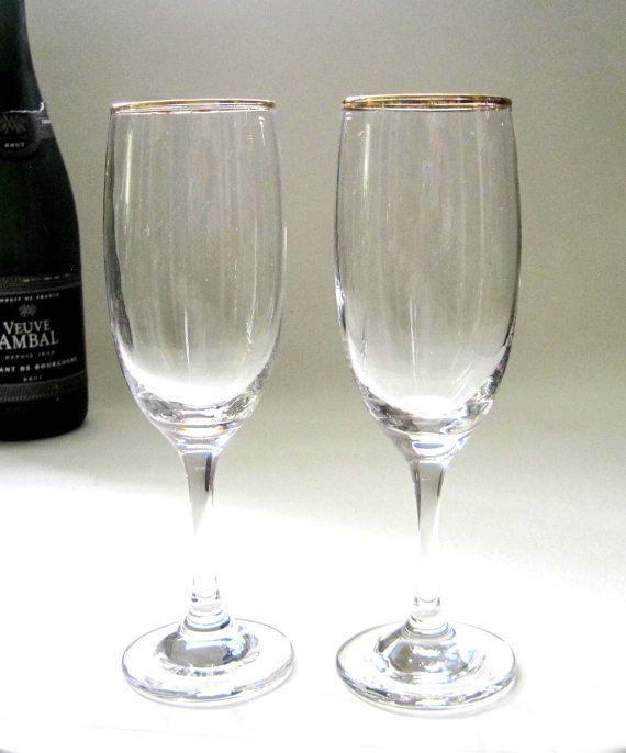 ddc73cd16cc Gold Rimmed Vintage Champagne Glasses Set by SharetheLoveVintage