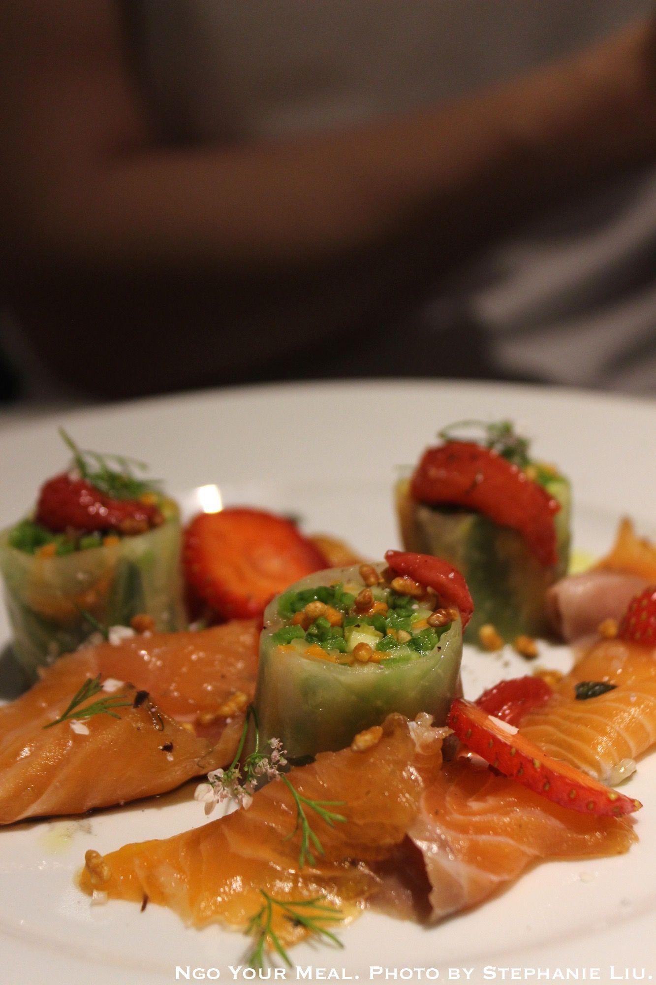 Banka trout gravlax , Maki of Vegetables, Strawberry Chutney (Truite Banka Gravlax, Maki de Legumes, Chutney Fraise) at Semilla
