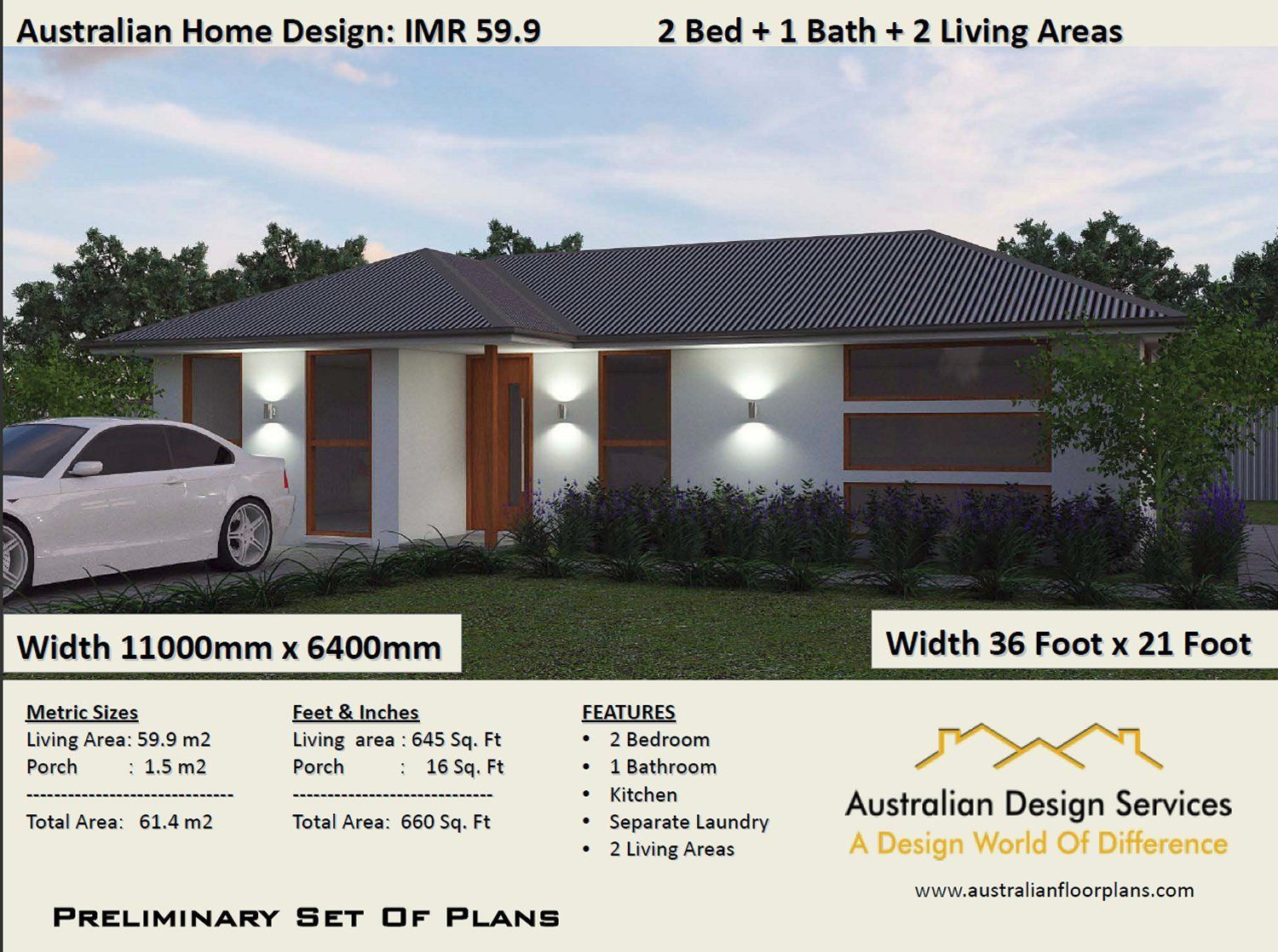 2 Bed House Plan 660 Sq Foot 61 4 M2 2 Bedroom Small Home 2 Bedroom Floor Plan 2 Bed Granny Flat Small House Plans Australia House Plans Australia Free House Plans Small House Plans
