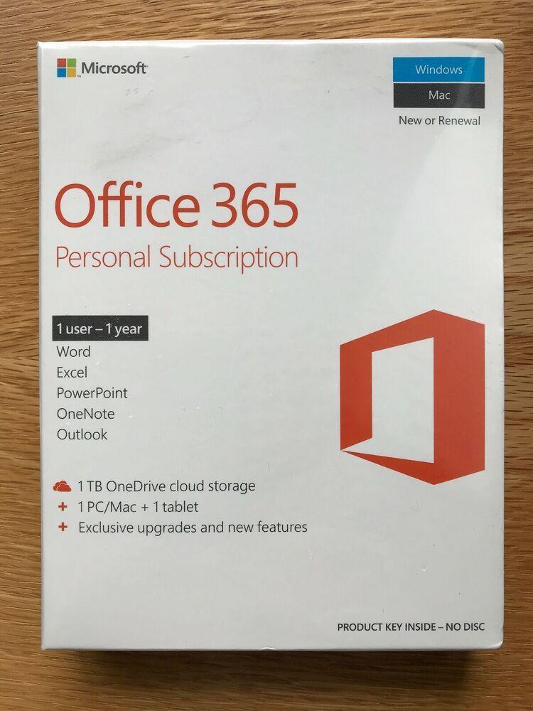 Ebay Sponsored Microsoft Office 365 Personal 1 Pc Or Mac 1 Yr Subscription 1tb Cloud Storage Office 365 Personal Microsoft Office Office 365
