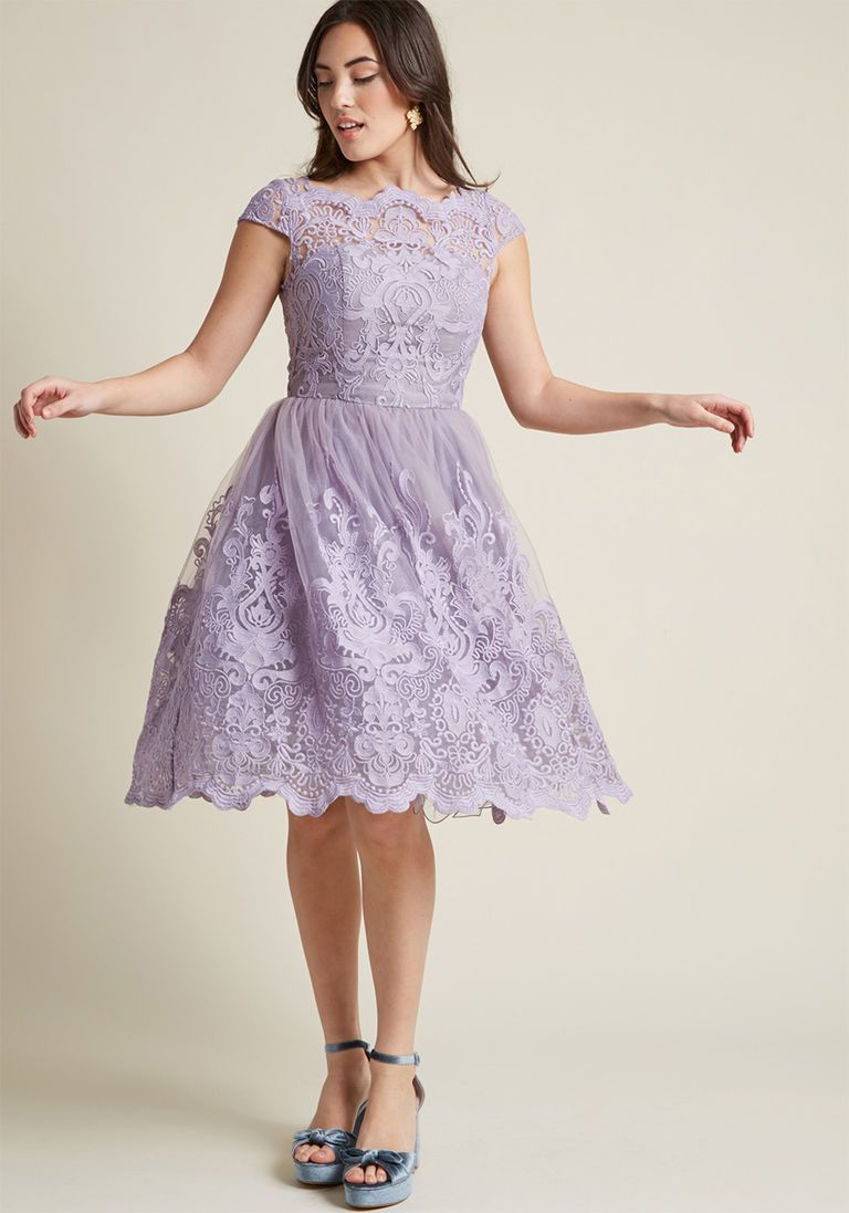 432af008eb8 Chi Chi London Exquisite Elegance Lace Dress in Lavender in 18 - Cap Fit    Flare Midi by Chi Chi London from ModCloth