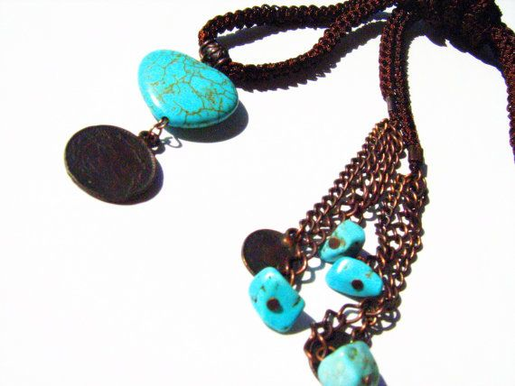 Heart Necklace. Natural stone Necklace.Crochet Necklace. Heart Turquoise gemsotene with crochet dark brown cord lariat necklace. Gift her