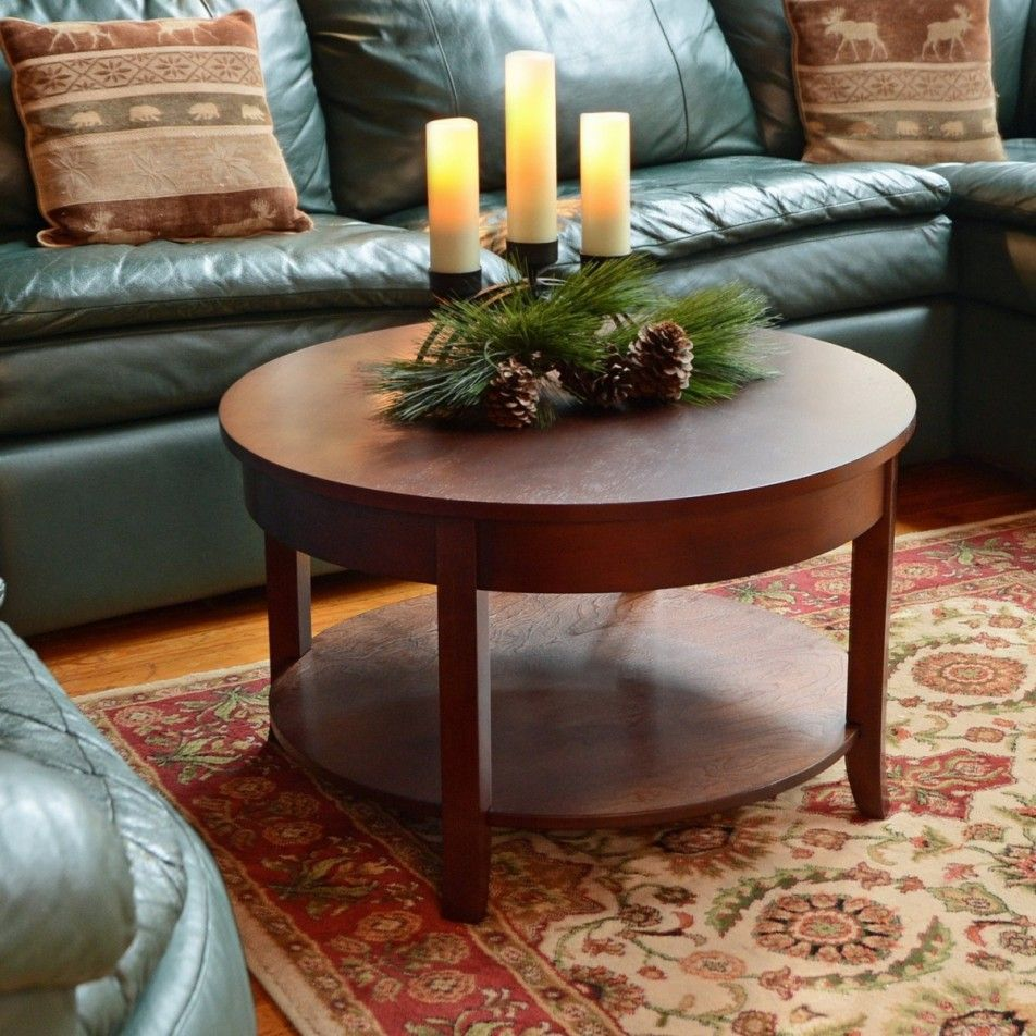 Furniture Modern Round Wood Coffee Table With Four Legs For Contemporary Living Room Decora Coffee Table Round Wooden Coffee Table Living Room Coffee Table [ 952 x 952 Pixel ]