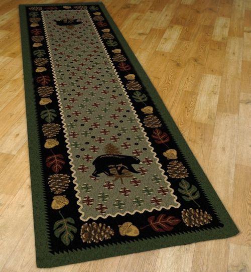 Black Bear Plaid Green 2' by 8' Rug