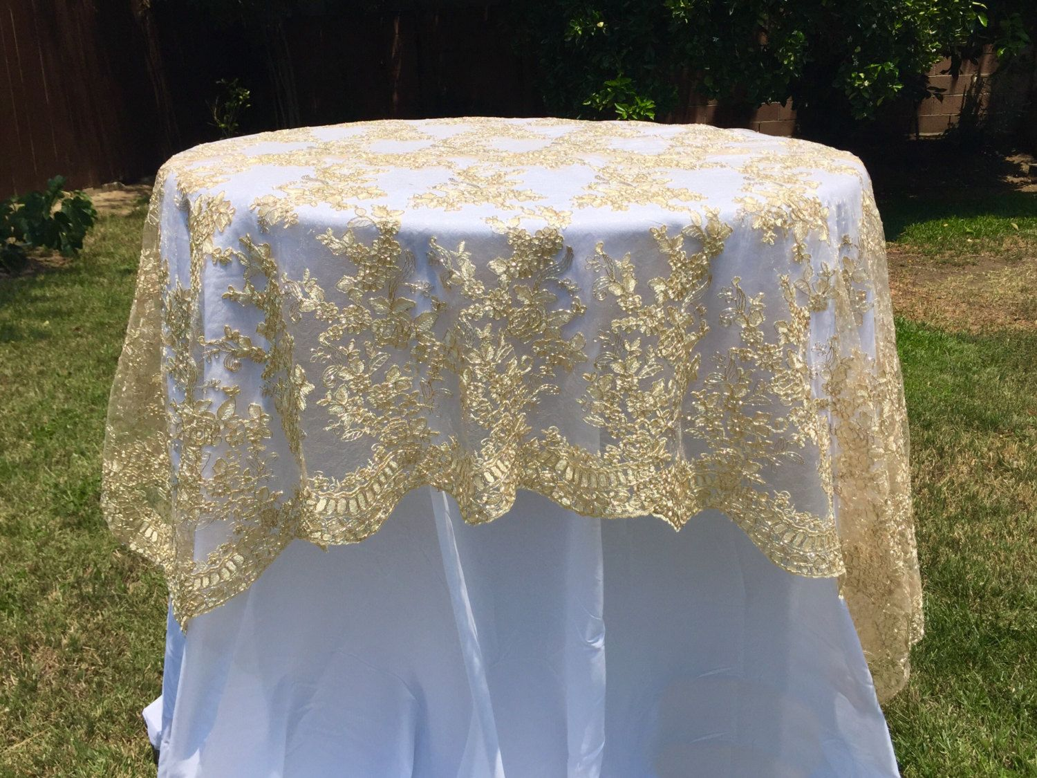 gold or silver sequence chain lace table overlay, lace tablecloth