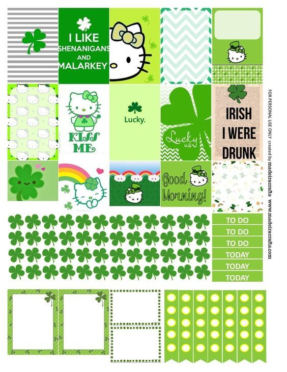 St Patrick S Day Hello Kitty Green Free Printable Planner Stickers For Mambi Happy Pla Happy Planner Printables Planner Printables Free Happy Planner Stickers