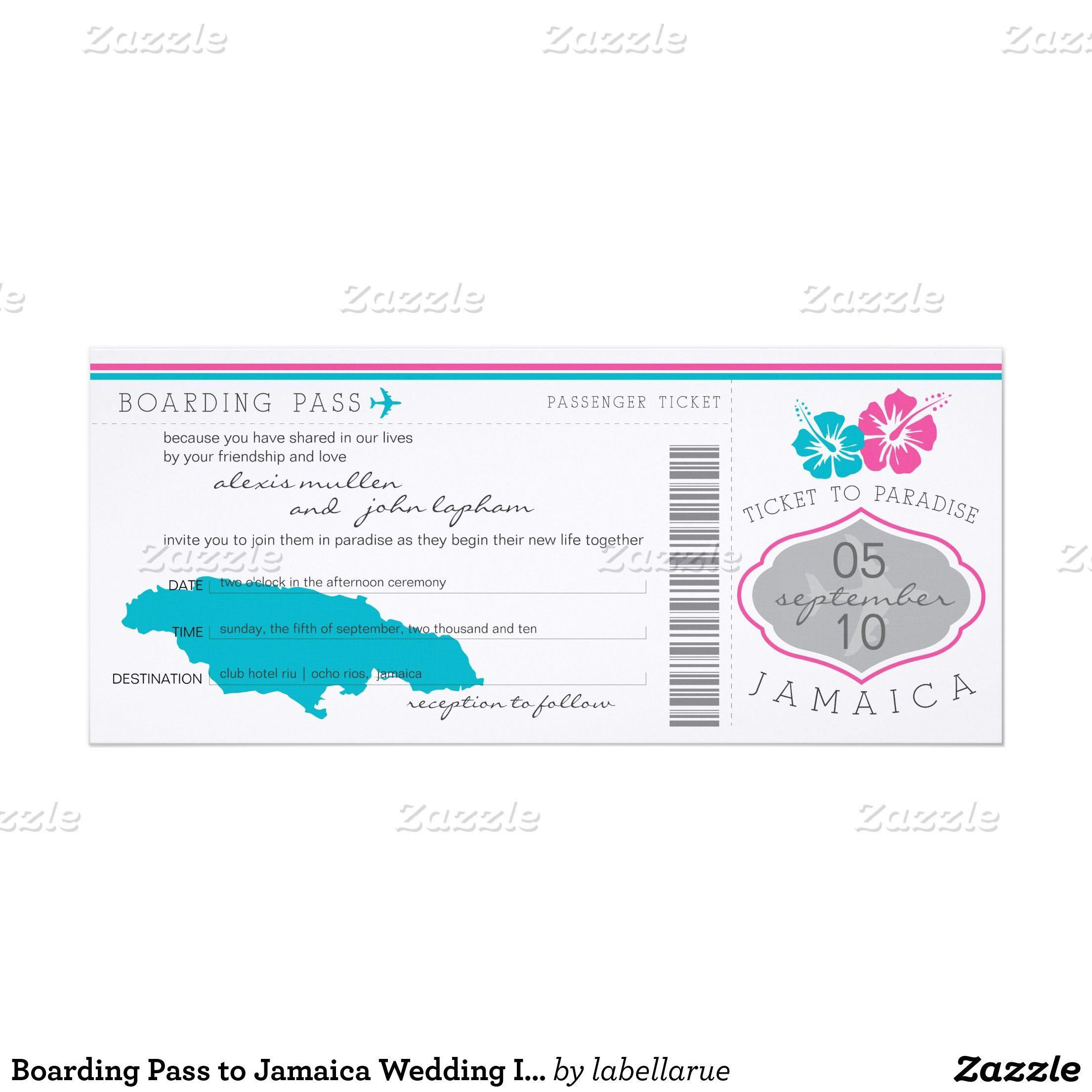 Boarding Pass to Jamaica Wedding Invitation | wedding ideas ...