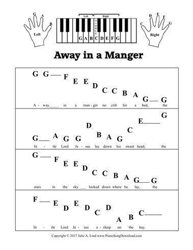 Away In A Manger Pre Staff Printable Sheet Music For Beginning