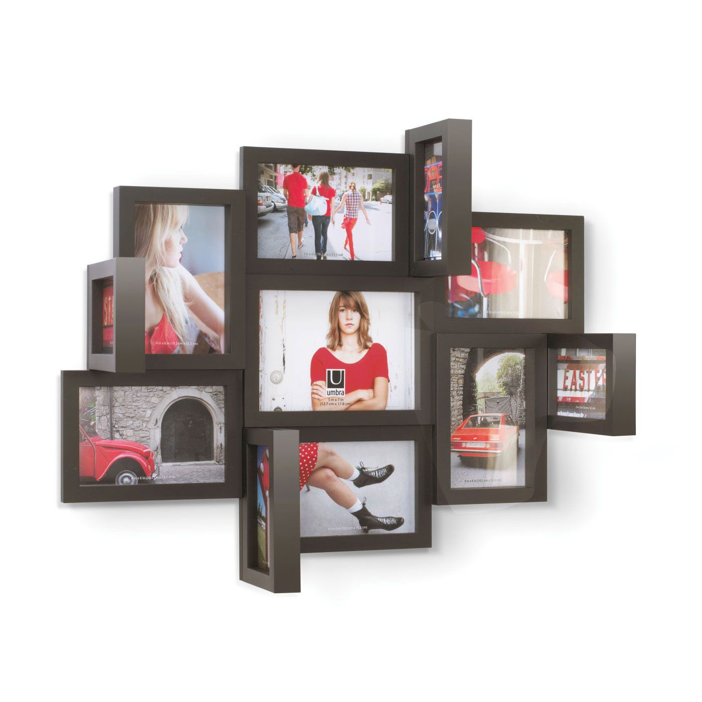 Photos literally pop out at you with this 3D Contemporary Photo Multiframe. The molded wall multiframe lets you display three different photo sizes, and four double-sided 3D vertical frames jut out from the rest for a striking effect.