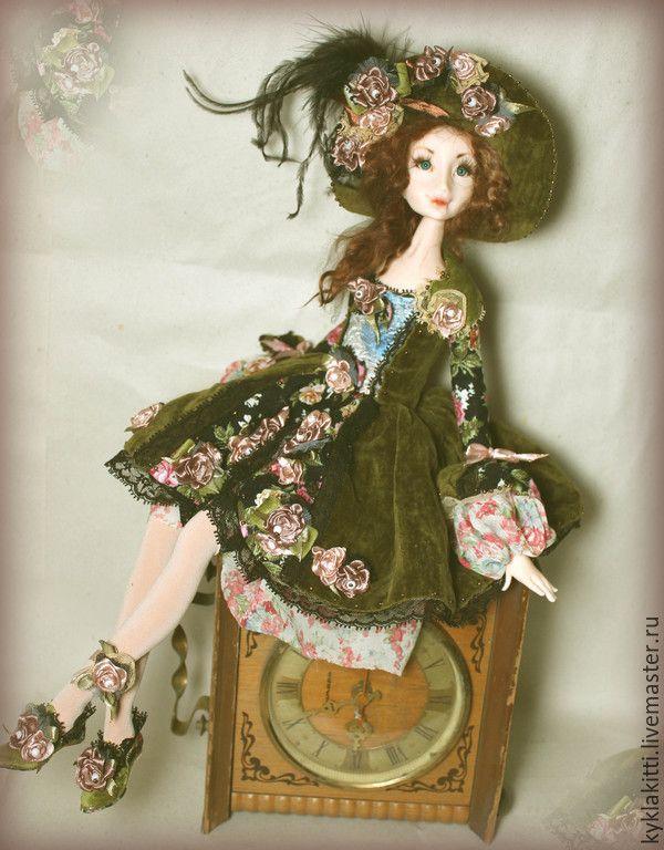 Купить Алекса - разноцветный, авторская кукла, интерьерная кукла, Будуарная кукла, Вышивка лентами, розы