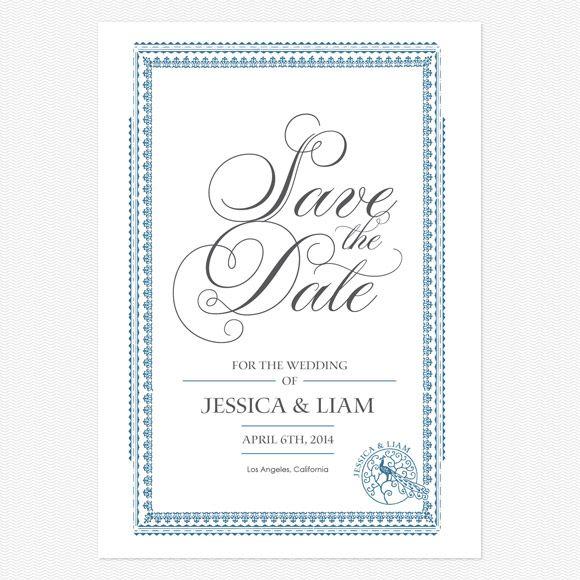 Elegant Frame Save the Date Postcards www.lovevsdesign.com