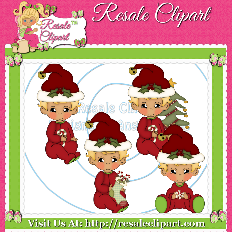 Christmas Baby Boy with Blonde Hair Clipart