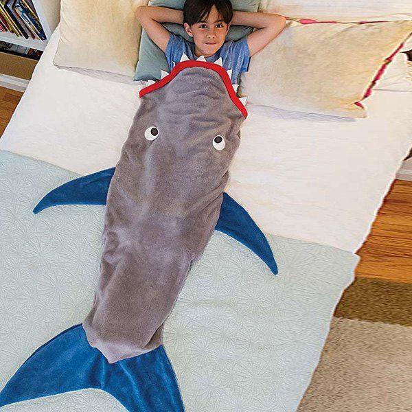 diy creative color block shark blanket by blankie tails sleeping bag for kids