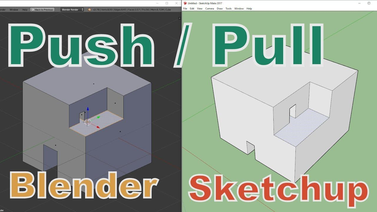 Push/Pull in Blender like in Sketchup (addon extrude and