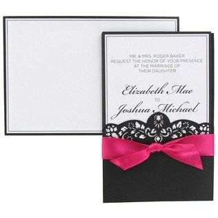 His Hers Hot Pink Black Laser Cut Wedding Invitations