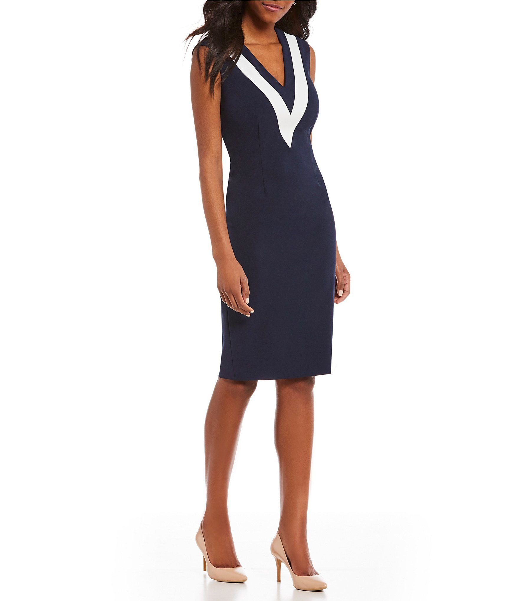 ac2c41257e Shop for Adrianna Papell Knit Crepe Color Block V-Neck Sheath Dress at  Dillards.com. Visit Dillards.com to find clothing