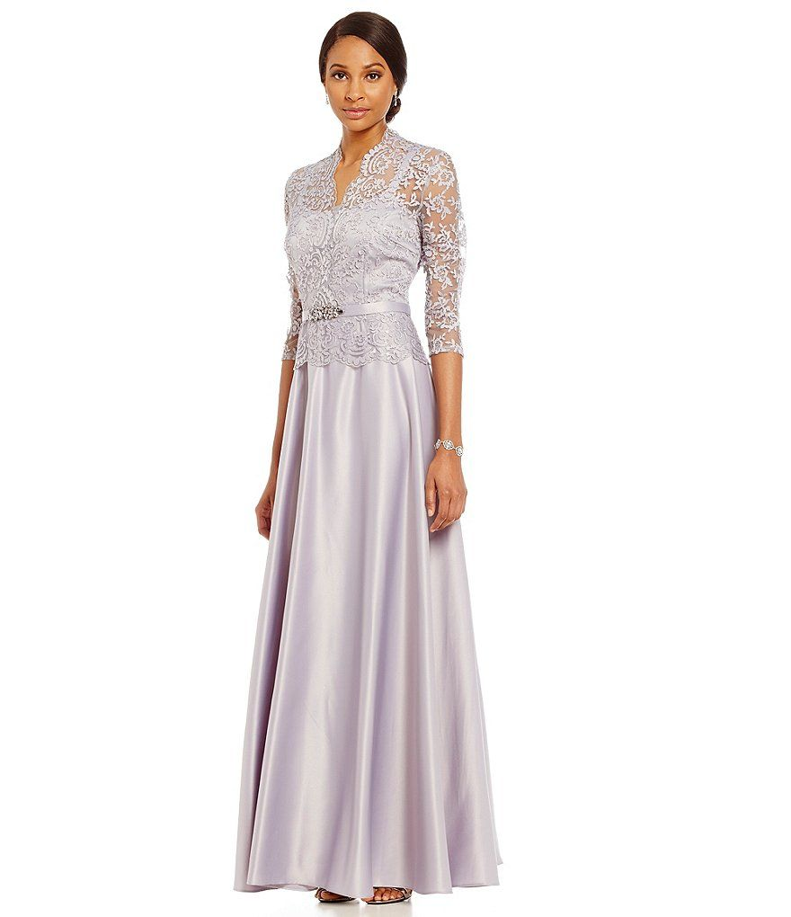 Emma Street Mock 2 Piece Lace 3 4 Sleeve Gown Dillards Formal Dresses For Women Mothers Dresses Gowns With Sleeves [ 1020 x 880 Pixel ]