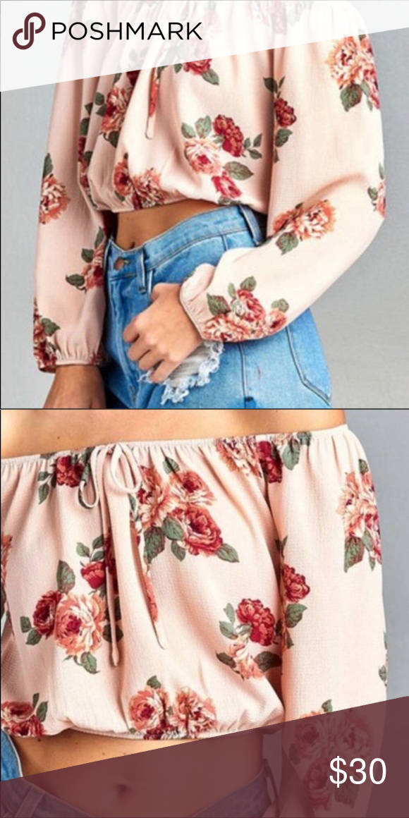 Photo of NWT Off the shoulder Floral Crop Top * Front tie  * 96% Poly…
