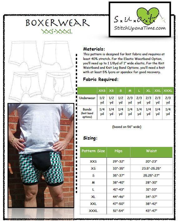 Men\'s Boxerwear Boxer Brief Pattern XXS-XXXL | Sew-my patterns ...