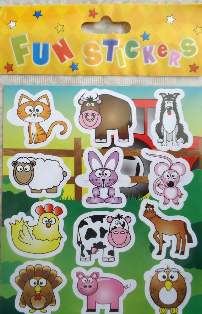12 Sheets Farm Farmyard Stickers Birthday Party Loot Bag Fillers