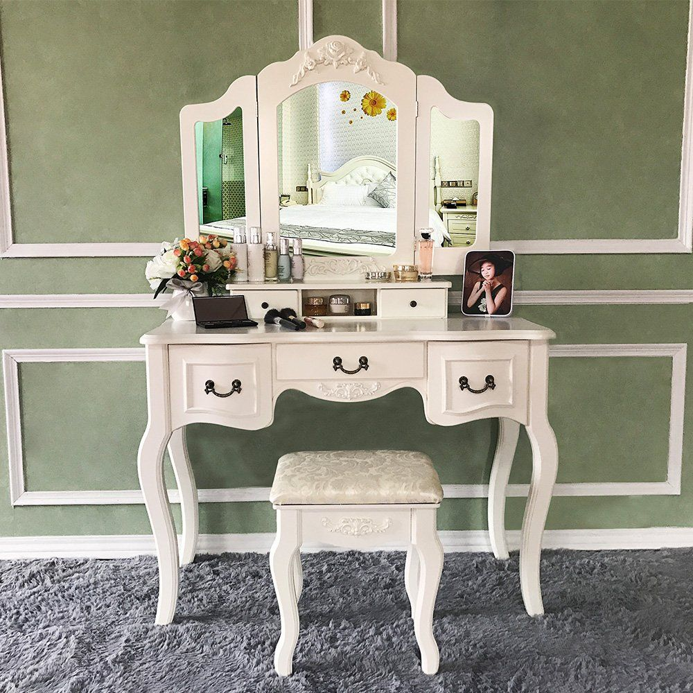 Blongang vanity set trifolding mirror vanity dressing table set with