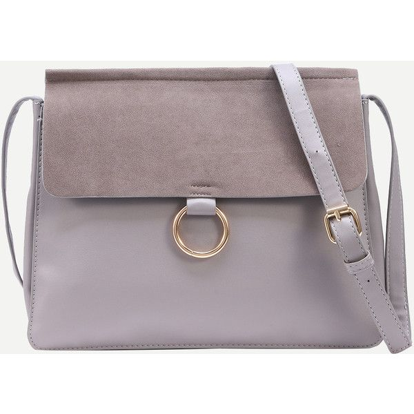 SheIn(sheinside) Grey Ring Accent Faux Suede Flap Bag (185 CNY) ❤ liked on Polyvore featuring bags, handbags, shoulder bags, grey, flap bag, gray shoulder bag, grey shoulder bag, gray handbags and gray purse