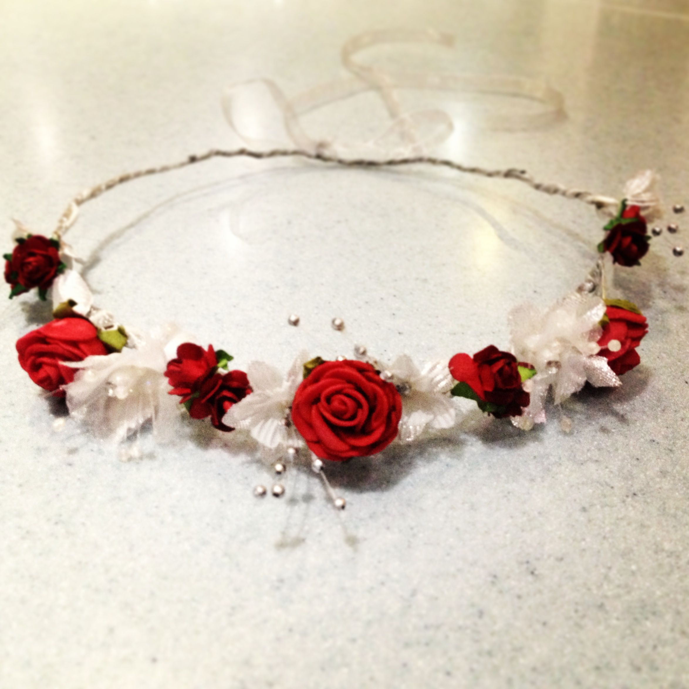 Red and silver wedding hair garland flower crown handmade by me red and silver wedding hair garland flower crown handmade by me izmirmasajfo Image collections