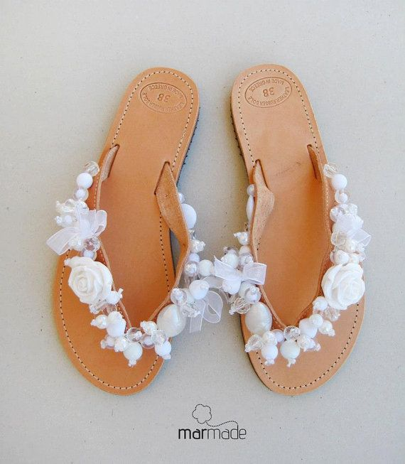 09790f733e023 Bridal shoes - Handmade leather wedding flip flops decorated with white  beads on Etsy