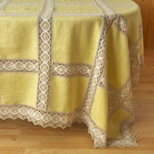 Manteler a patchwork lino 100 con puntilla r stica - Manteles de lino ...