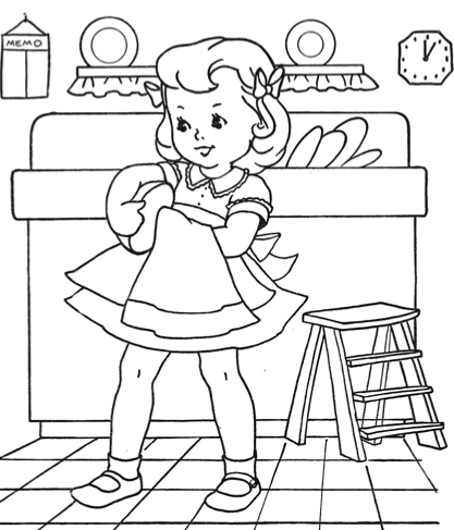Vintage coloring book pages | Washing dishes, Vintage coloring ...