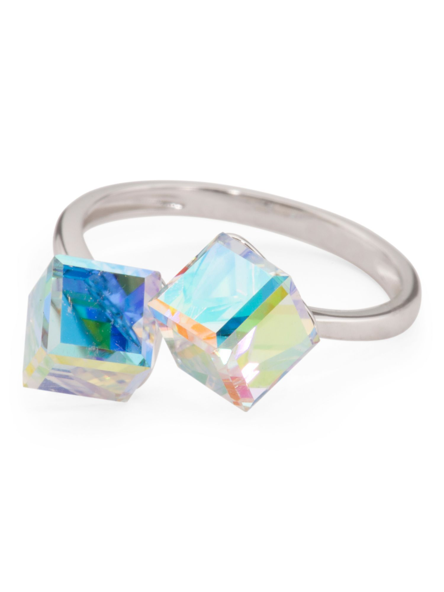 cbf6e06a28b21 Sterling Silver Swarovski Crystal Cube Ring | Products | Rings ...