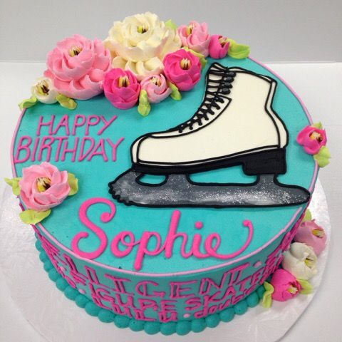 Ice Skate Buttercream Cake With Images Skate Birthday Ice